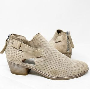 Dolce Vita Ankle Bootie Cut Out Suede Taupe Size 8
